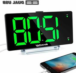 "Large Alarm Clock 9"" LED Digital Display Dual Alarm with USB"