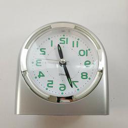 "Alarm Clock For Heavy Sleepers Light Up Display 4"" x 4"" Silv"