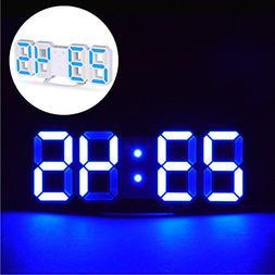 3D Digital Alarm Clock+ Charging Plugs,Modern Night Light Cl