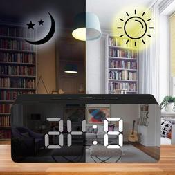 Mirror LED Alarm Clock Multifunction Digital Temperature Sno