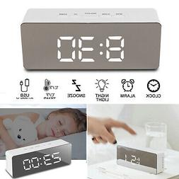 Alarm Clock Digital LED Display Portable Modern Battery Mirr