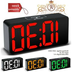 Alarm Clock Large Display Adjustable Dimmer USB Charging Por