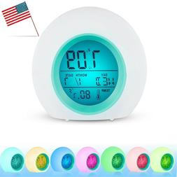 Alarm Clock LED Wake Up Light Digital Clock with Temperature