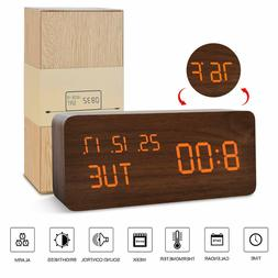 Alarm Clock LED Wooden USB Digital Clocks 3 Levels Adjustabl