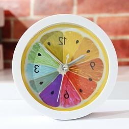Alarm Clock Lemon Pattern Design Round Mute Table Desk Clock