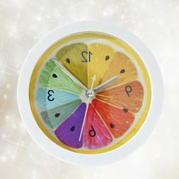 Alarm Clock Mute Round Table Lemon Pattern Design Clock for