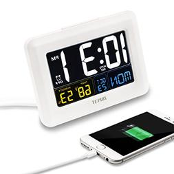 ZHPUAT Digital Alarm Clock Auto Brightness, Both USB Batter