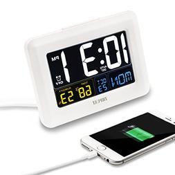 ZHPUAT Digital Alarm Clock Auto Brightness, Both USB Batter