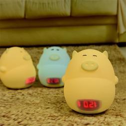 Alarm Clock Night Light Cute Pig Soft LED Multicolor Wake Up