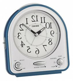 Seiko Alarm Clock, Plastic, blue, 14.3 x 12.9 x 7 cm. Free S