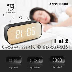 Alarm Clock Portable Wireless Bluetooth Speaker Radio MP3 Pl