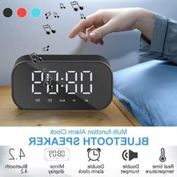 Alarm Clock Portable Wireless Bluetooth Speaker Radio MP3 Pl