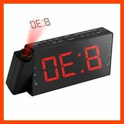 "Alarm Clock Projection On Ceiling FM Radio Wall 7""LED Digita"