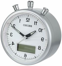 Seiko Alarm Clock QHE114SLH Quiet Sweep Hand Analog & Digita