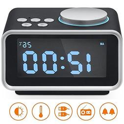 "Alarm Clock Radio, Hetyre 3.2""LED Display FM Radio with Du"