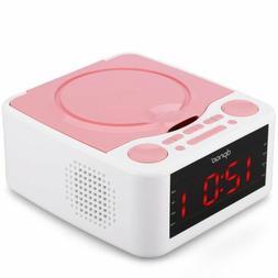 Alarm Clock Radio, CD Player, with USB Port, Headphone Jack,