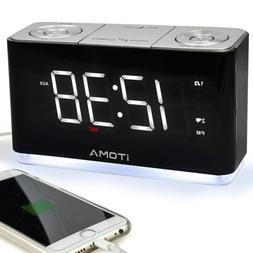 iTOMA Alarm Clock Radio, Digital FM Radio, Dual Alarm,