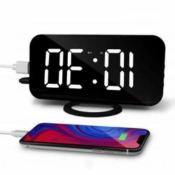 Alarm Clock Radio with USB Charger Port Large LED Screen for