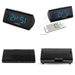 Alarm Clock Radio With Usb Charger Auto Time Set Battery Bac