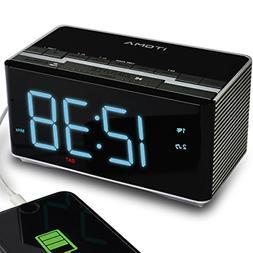 Alarm Clock Radio with Wireless Bluetooth Stereo Speakers, D