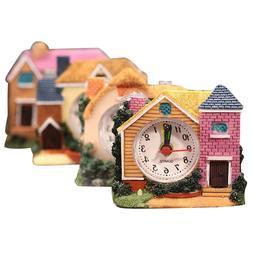 Alarm Clock Retro Decorative House Shape Morning Clock Table