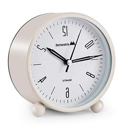 Alarm Clock.Mensent 4 inch Round Silent Analog Alarm Clock N