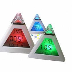 Oldeagle Alarm Clock, Pyramid Temperature 7 Colors LED Chang