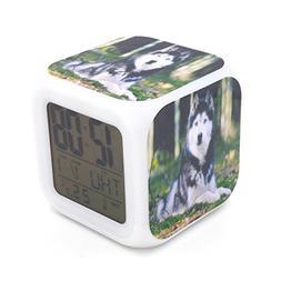 Boyan Led Alarm Clock Siberian Husky Dog Design Creative Des