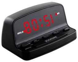 Digital Alarm Clock w Keyboard Controls Electric w Battery B