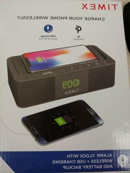 Timex Alarm Clock w/Wireless charging dock & USB Charging -