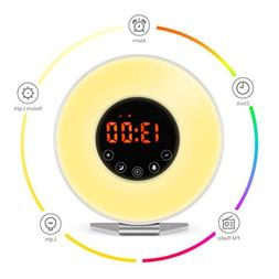 Alarm Clock Wake Up Light 7 Color Light Sunrise Simulator Wi