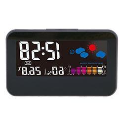 FunnyToday365 Digital Alarm Clock Weather Temperature Humidi