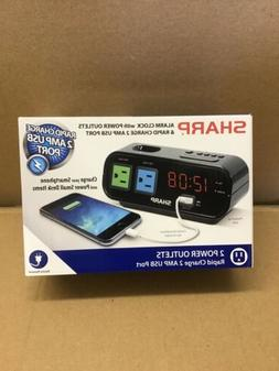 Sharp Alarm Clock with 1 Rapid Charge USB & 2 AC Power Outle
