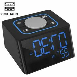 Alarm Clock with USB Charger Digital LED Display 3-Level Bri