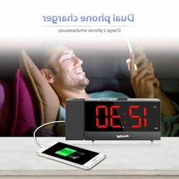 Alarm Clock, with USB Charger For Bedrooms to Heavy Sleepers