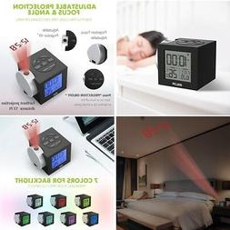 Alarm Clocks Time Projection on Ceiling Wall Colorful Backli