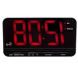 "X-Large 3"" LED Alarm Desk Digital Alarm Clock with Snooze Bl"