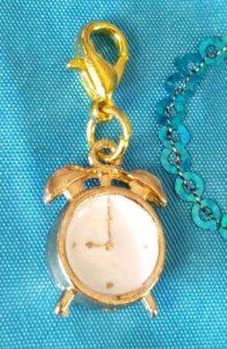 ALLOY GOLD ALARM CLOCK CHARM for CHARM BRACELET PURSE CLIP O