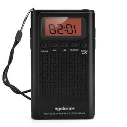 Horologe AM FM Pocket Radio, Portable Alarm Clock Radio with
