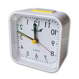 Travel Alarm Clock, No Ticking, Alarm, Snooze, Light, White