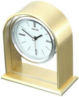 Seiko Analog Quartz Gold Tone Metallic Desk Alarm Clock QHE1