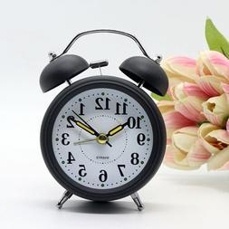 Analog Silent Bell Alarm Clock Quartz Silver Backlight LOUD