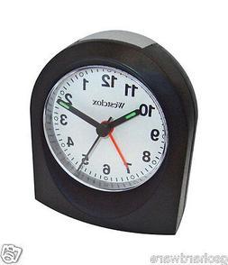 Westclox Analog TRAVEL Alarm Clock 47312 BATTERY POWERED Bla