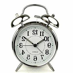 Analog Twin Bell Alarm Clock Quartz Silver Backlight LOUD Wa