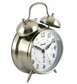 Analog Twin Bell Alarm Clock Quartz Silver Backlight LOUD Wa