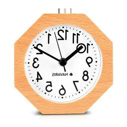 Analog Wooden Alarm Clock with Snooze Function Natural Wood