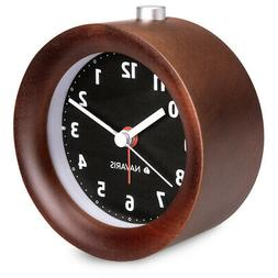 Analogue Black Dial Wooden Alarm Clock in Retro Round Design