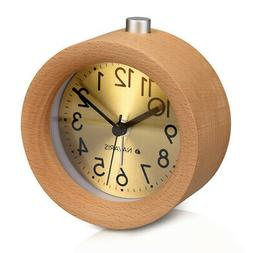 Analogue Gold Dial Wooden Alarm Clock in Retro Round Design