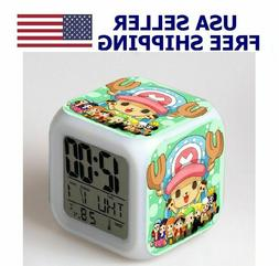 Anime One Piece Chopper Alarm Clock 7 Color Change Night Lig