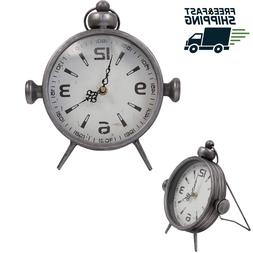 Antique Metal Desk Clock Analog Shelf Clock for Office Livin